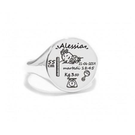 Anello Chevalier nascita in argento bianco 925%