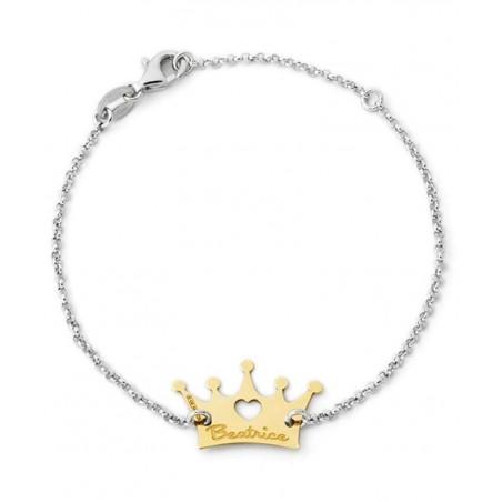 Bracciale con corona personalizzata in argento 925%