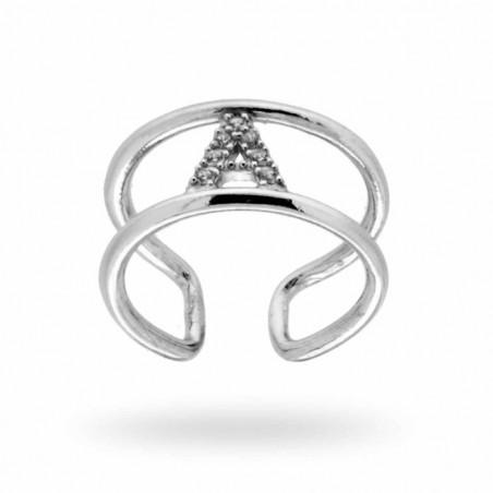 Anello doppia fascetta con iniziale zirconata in argento personalizzabile