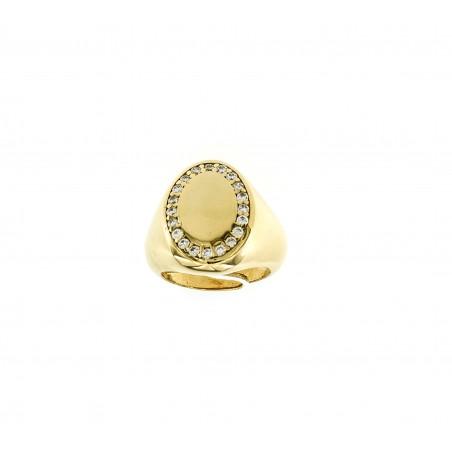 Anello Chevalier ovale zirconato personalizzato