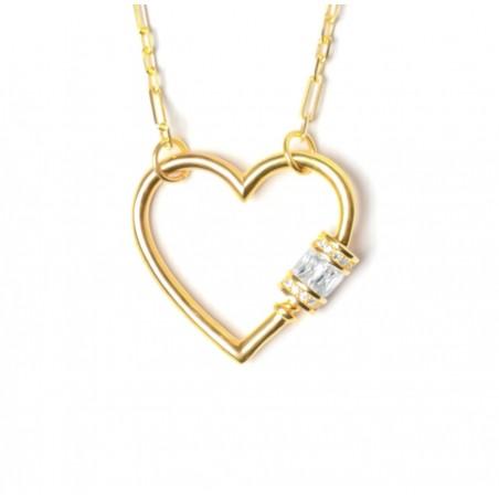 Collana cuore lucchetto in argento placcato oro giallo