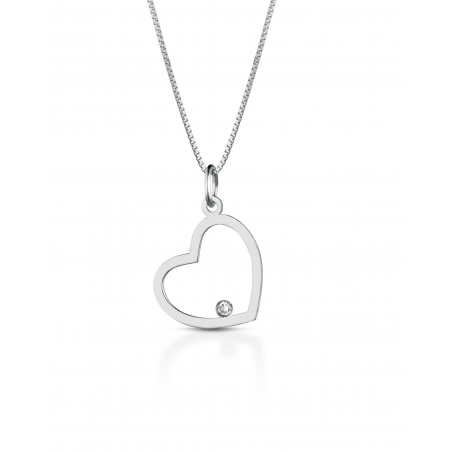 Collana con cuore pendente in oro bianco 18kt e diamantino incastonato