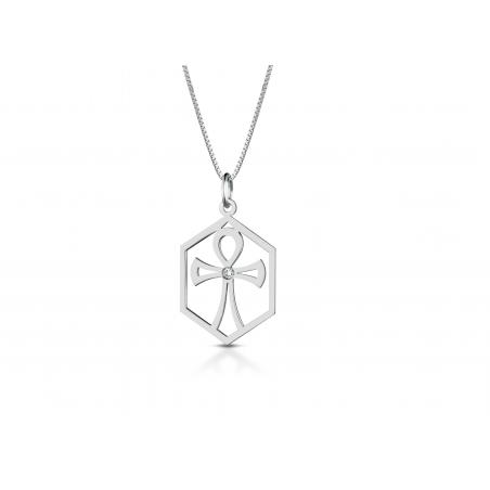 Collana in oro bianco 18 kt con ciondolo a croce e diamantino incastonato