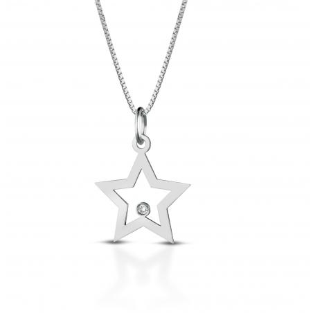 Collana in oro bianco 18kt con ciondolo stella e diamante incastonato