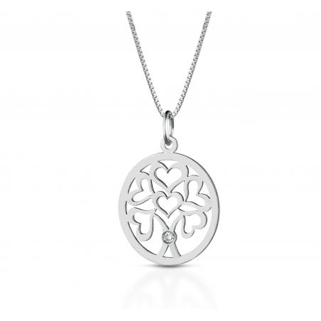 Collana in oro bianco 18kt con ciondolo albero della vita e diamante incastonato