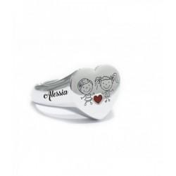 Anello cuore argento bianco...
