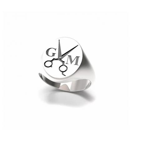 Anello chevalier Forbici in argento 925%