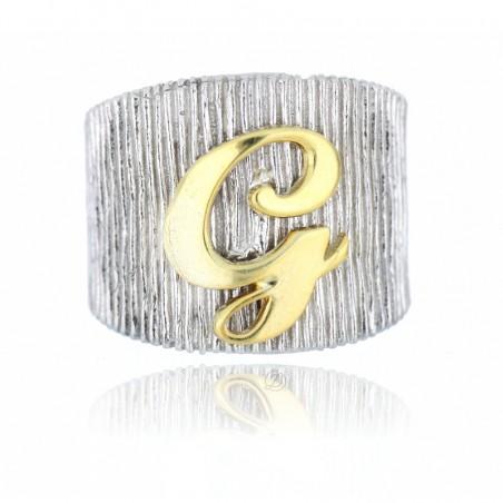 Anello fascia con iniziale personalizzata in argento 925