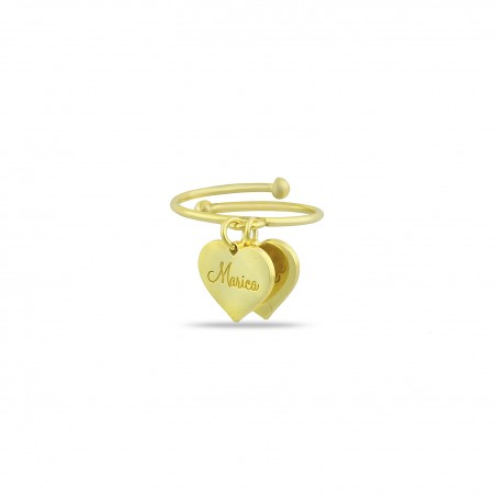 Anello due cuori con nome personalizzabile in argento placcato oro giallo