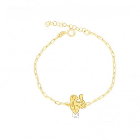 Bracciale cuore di mamma in argento placcato oro giallo