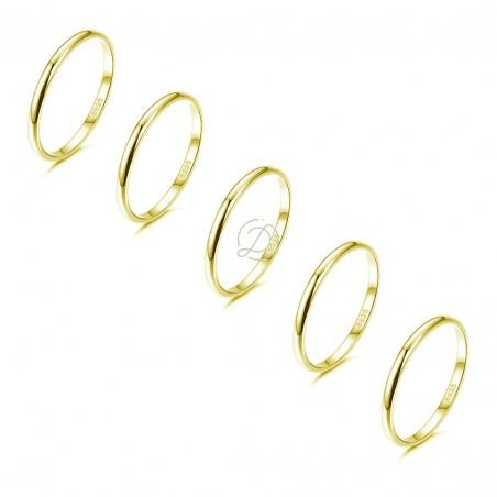 Set 5 Ferma anelli sottili in argento 925% placcati oro