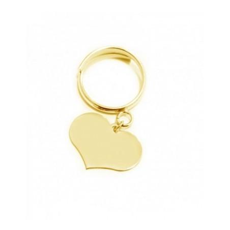 Anello cuore pendente personalizzabile in argneto 925