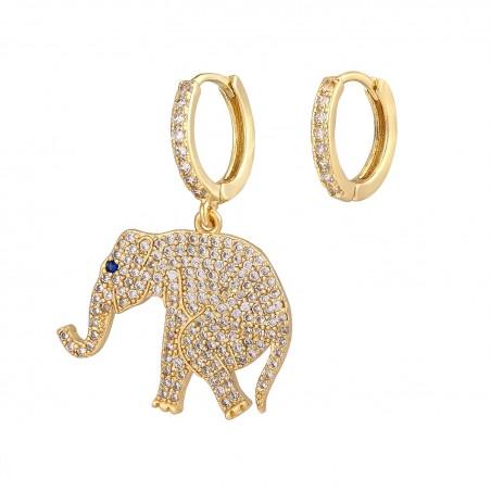 Orecchini donna cerchio con elefante pendente zirconato