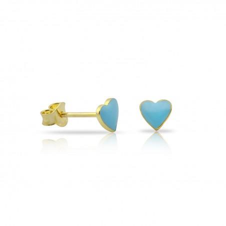 Coppia orecchini cuore smaltati in argento 925% placcati oro