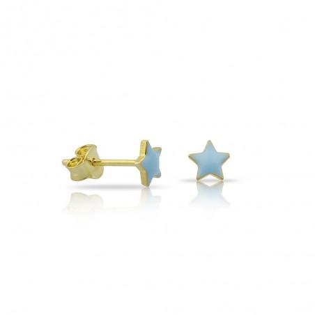 Coppia orecchini stelle smaltati in argento 925% placcati oro