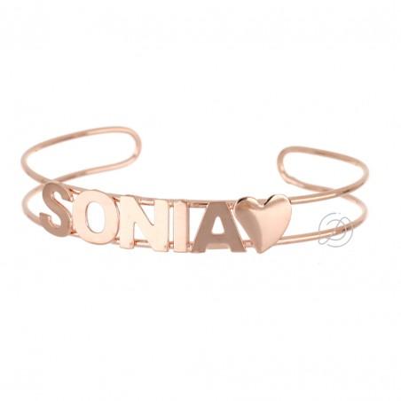 Bracciale  rigido con nome personalizzato lettere rialzate