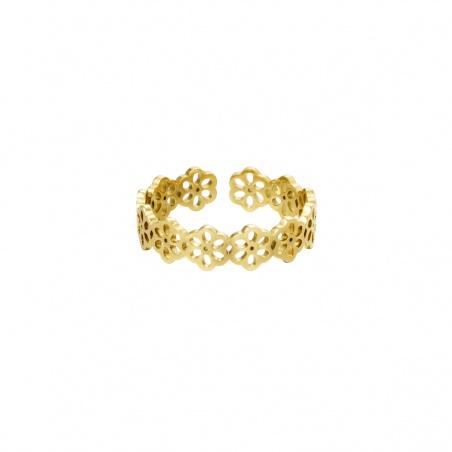 Anello regolabile in acciaio Flowers placcato oro