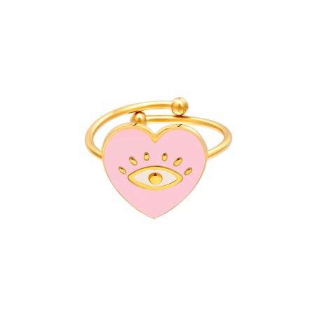 Anello regolabile in acciaio Eye in Heart placcato oro