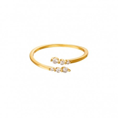 Anello regolabile in acciaio Twist placcato oro