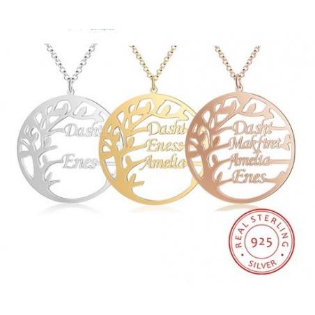 Collana albero della vita con nomi personalizzabile in argento 925%