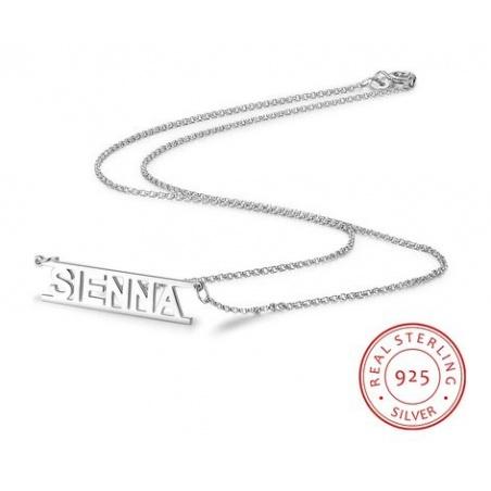 Collana con nome stampatello personalizzabile in argento 925%