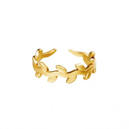 Anello regolabile in acciaio Alloro placcato oro
