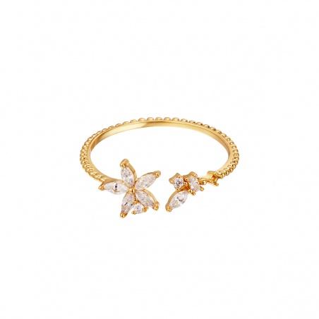 Anello regolabile in acciaio Flower placcato oro