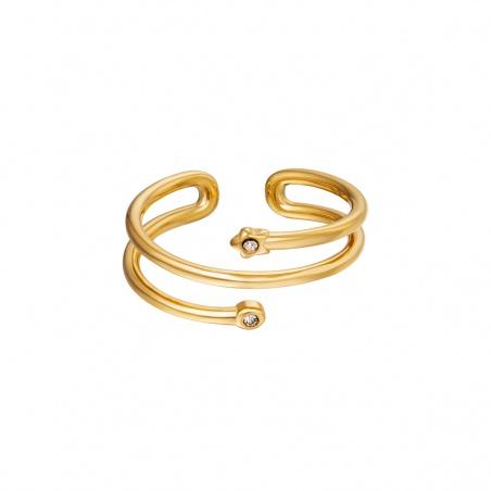 Anello regolabile in acciaio Spiral placcato oro