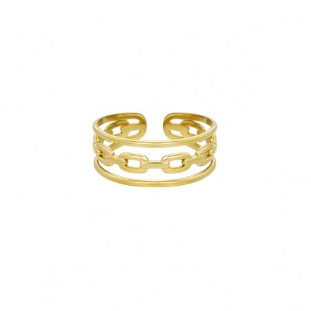 Anello regolabile in acciaio Triple placcato oro