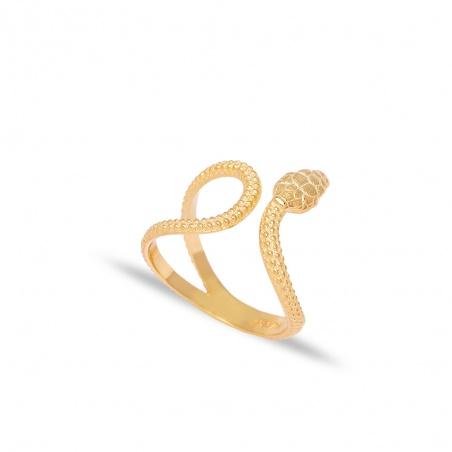 Anello serpente in argento 925% snake placcato oro regolabile