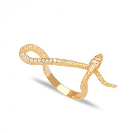 Anello serpente Snake in argento 925% placcato oro regolabile zirconato