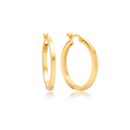 Coppia orecchini cerchio satinati in argento placcati oro giallo