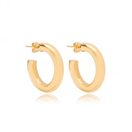 Coppia orecchini a cerchio donna in argento placcato oro giallo