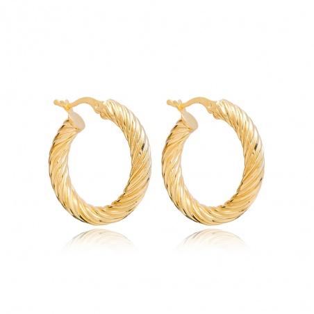 Coppia orecchini cerchio in argento placcati oro modello intrecciato