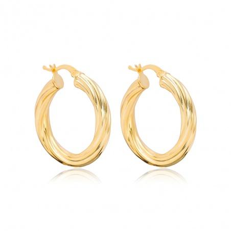 Coppia orecchini a cerchio donna in argento placcato oro giallo intrecciati
