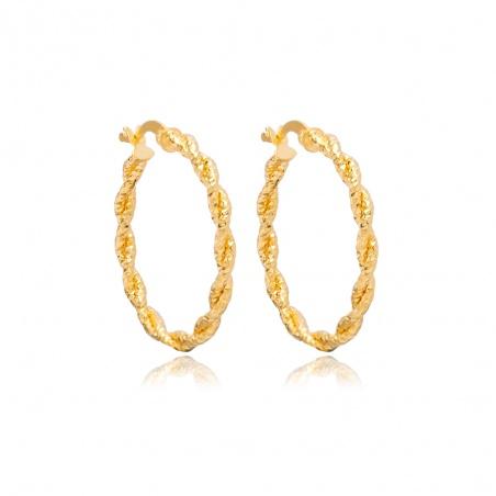 Coppia orecchini a cerchio donna in argento placcato oro giallo corda