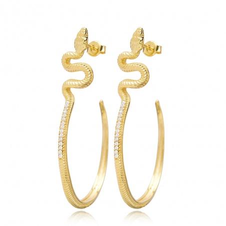 Coppia orecchini serpente in argento 925% placcati oro snake