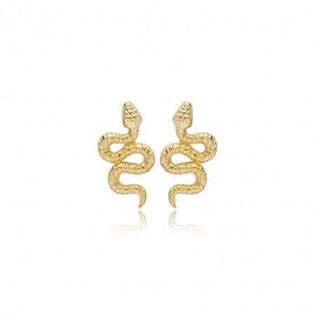 Coppia orecchini snake in argento 925 placcati oro giallo piccoli