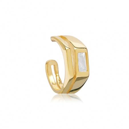 Orecchino Ear Cuff baguette in argento placcato oro giallo