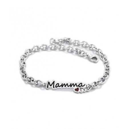 """Bracciale con dedica  """"MAMMA TVB"""" in argento bianco"""